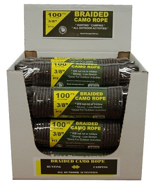 "15 PIECE 3/8"" X 100' BRAIDED CAMO ROPE DISPLAY"