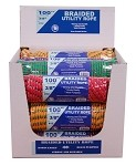 "15 PIECE 3/8""-100' BRAIDED UTILITY ROPE DISPLAY"