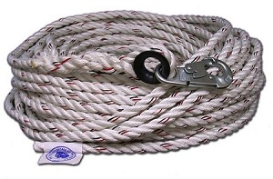 "5/8""-100' LIFE LINE WITH DOUBLE LOCK HOOK ONE END"